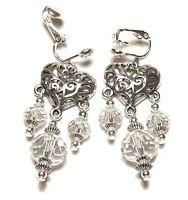 Long Silver Tibetan Style Heart Crystal Clip On Earrings Glass Bead Drop Dangle