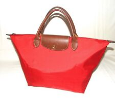Authentic LONGCHAMP Type M LE PLIAGE Red Leather MEDIUM Fold-Up Travel Tote Bag