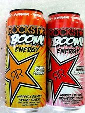 2 FULL Cans 16 oz Rockstar Whipped Boom Energy Drink.1 Strawberry and 1 Orange