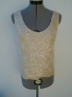 Vintage 1950s Sequin Beaded Iridescent Ivory Wiggle Pinup Sweater Tank Top Large