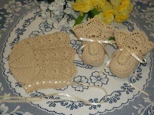 Handmade, Hand Crocheted Baby Bonnet and Booties - Ecru w/Ecru Ribbons