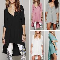 Womens Long Sleeve Irregular Swing Mini Dress Loose Tunic Top Blouse T-Shirt
