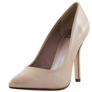 New women's shoes pump stilettos synthetic patent casual work pointy toe beige