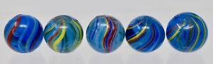 Vintage Antique German  Blue Glass Swirl marbles - lot of 5 - Lot M14