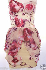 Rare Fashion Floral Rose Satin Cup Corset Prom/Party Dress UK 6 Yellow/Pink