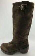 Crocs Cobbler Boots Adjustable Buckle Brown Suede Knee High Platform Womens 11