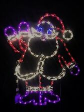 Small Animated Waving Santa Claus Outdoor LED Lighted Decoration Steel Wireframe