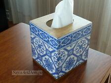 Tissue Cube Box. Wooden Tissue Box Cover. Napkins Holder. Blue Tiles Decoration.