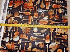 Encore Music Keyboard Guitar Horns 27015-J  Quilting Treasures Cotton Fabric