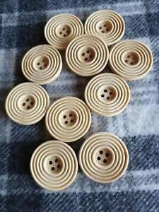 10 large 30mm natural wooden coat jacket sewing craft knitting buttons 4 hole