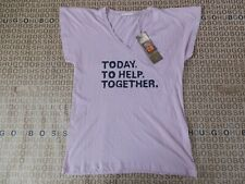 New Hugo Boss womans ladies pink cotton charity unicef v-neck casual t-shirt £50