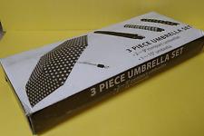 3 Piece Polka Dot, Plaid, & Black Umbrella Set   Free shipping