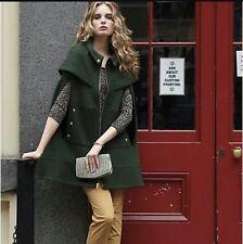 Madchen Anthropologie Hunter Green Wool/ Knit Poncho Coat  Size L EUC