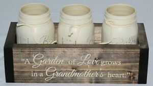 "Flower Pots in Wood Tray - 3 Bell Jars in 12"" x 5"" x 3.5"" Wood Holder"