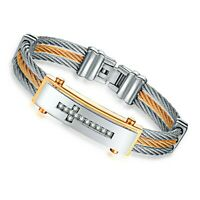 Stainless Steel Snake Wrap Wire Cuff Leather Bracelet 210mm Unisex