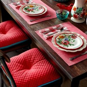"4 Pioneer Woman Reversible Quilted Chair Pads 16"" x 17"" Red & Teal"