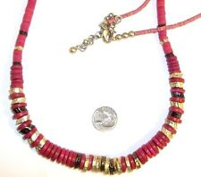 """Brand name necklace 34 """" long pink red gold & black beaded string chain Chunky !"""