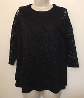 J. jill Wearever Collection XS Tunic Black Lace Lined 3/4 Sleeve Stretch Shirt