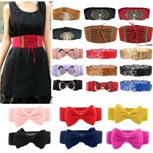 Women's Wide Waist Belt Elastic Buckle Leather Stretch Waist Strap Waistband