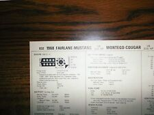 1968 Ford, Mustang & Mercury (GT) 390 V8 4BBL SUN Tune Up Chart Great Shape!