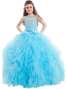 Stock Ball Gown Kids Flower Girl Dress Applique Wedding Birthday Pageant Dress