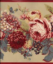 Laura Ashely Victorian Floral on Tan with Red Trim WALLPAPER BORDER