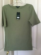 Womens Lauren Ralph Lauren True Sage Crew Neck Short Sleeve Top Sz L