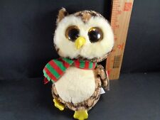 Christmas TY Wise Brown Owl Beanie Boo Plush Stuffed Animal Toy Doll