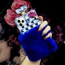 Bling Plush Perfume Bottle Diamond Cases With Crossbody Lanyard & Tempered Film