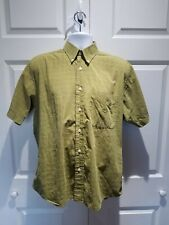 Oscar De La Renta Men Shirt Short Sleeve Medium Cotton Green Single Needle Sz M