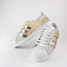 scarpe adidas superstar con glitter argento piu' specchiato oro e pitonato oro