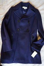 NWT Womens Michael Kors Deep Plum Double Breasted Peacoat Coat S Wool Blend