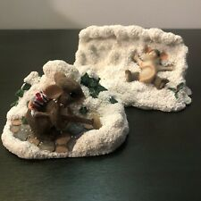 Lot 2 Fitz & Floyd Charming Tails Figurines Winter Shoveling & Snow Angel Mouse