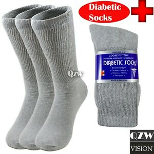 3-12 Pairs Health Loose Fit Top Crew Cotton Diabetic Socks Gray 9-11 10-13 13-15