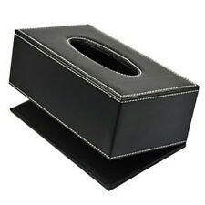 """PU Leather Tissue Box Cover Case Holder for 3.1"""" Tall Tissue Boxes (Black)"""