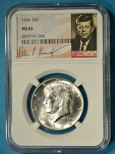 1964 Kennedy Half Dollar NGC MS66- Exceptional Luster, White, Special Label