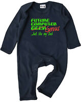 "Dirty Fingers Baby Romper Suit Gift ""Future Computer Geek /Genius like Dad"""