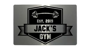 Personalised Gym Name, Year Metal Aluminium Plaque Sign For Door Fitness 5 Sizes
