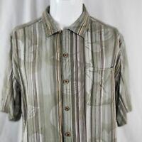 Caribbean Joe Men's Medium Green Hawaiian Floral Rayon Shirt