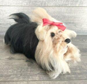 "Vintage Homemade Yorkie Dog Handmade Plush Stuffed Animal 4x6x9"" OOAK Long Hair"
