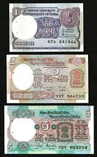 INDIA 3 PCS SET 1 2 5 RUPEE 1975 - 1996 UNC P 78Ac 79k 80p , ALL LETTER A