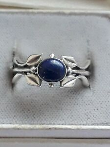 Vintage Genuine Lapis Lazuli Sterling Silver Solitaire Ring 925. Size L