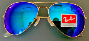 Ray-Ban RB3026 Aviator Large Sunglasses Polished GOLD/BLUE FLASH MIRROR New