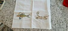 PATIENCE BREWSTER - MACKENZIE CHILDS - PAIR OF HAND TOWELS - DOG AND GATOR DESIG
