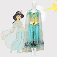 Movie Aladdin Cosplay Costume Princess Jasmine Halloween Costume Dress Adult Kid