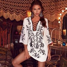 NWT Bebe white black lace up kimono sleeve floral print club tunic top dress XS