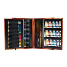 175 Piece Wooden Art Set Case Colouring Pencils Painting Drawing Childrens Kit