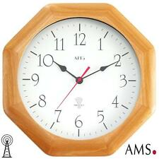 Ams Wall Clock 36 Rc Solid Beech Mineral Glass Office Kitchen Radio Controlled