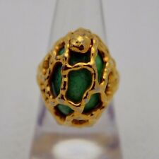 VTG CROWN TRIFARI Gold Tone Green Cabochon Openwork Abstract Ring 6.75