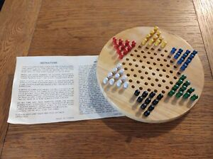 Wooden Chinese Checkers Traditional Strategy Board Game with Set of 60 pegs